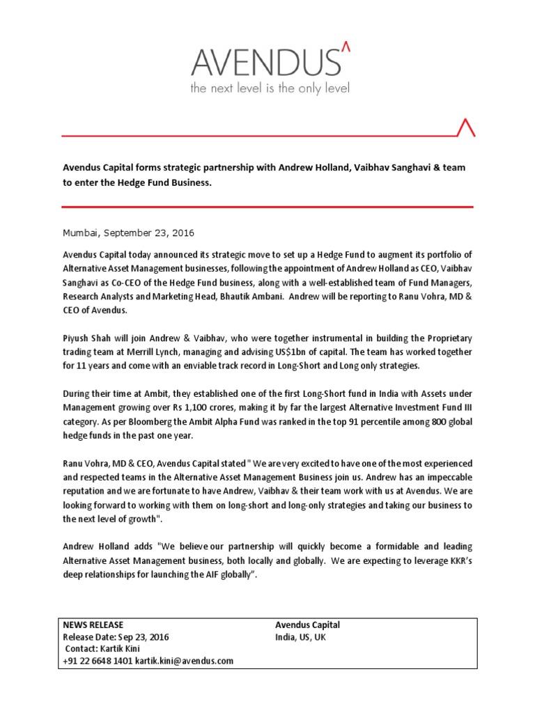 Avendus Capital forms strategic partnership with Andrew