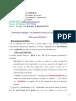 Comment Rédiger Les Introductions Et Les Conclusions Dans Un Mémoire