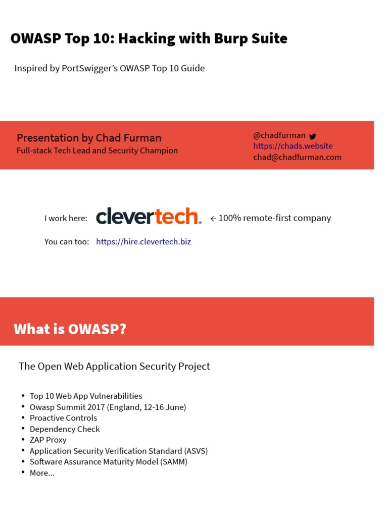 OWASP Top 10: Hacking with Burp Suite: Presentation by Chad Furman