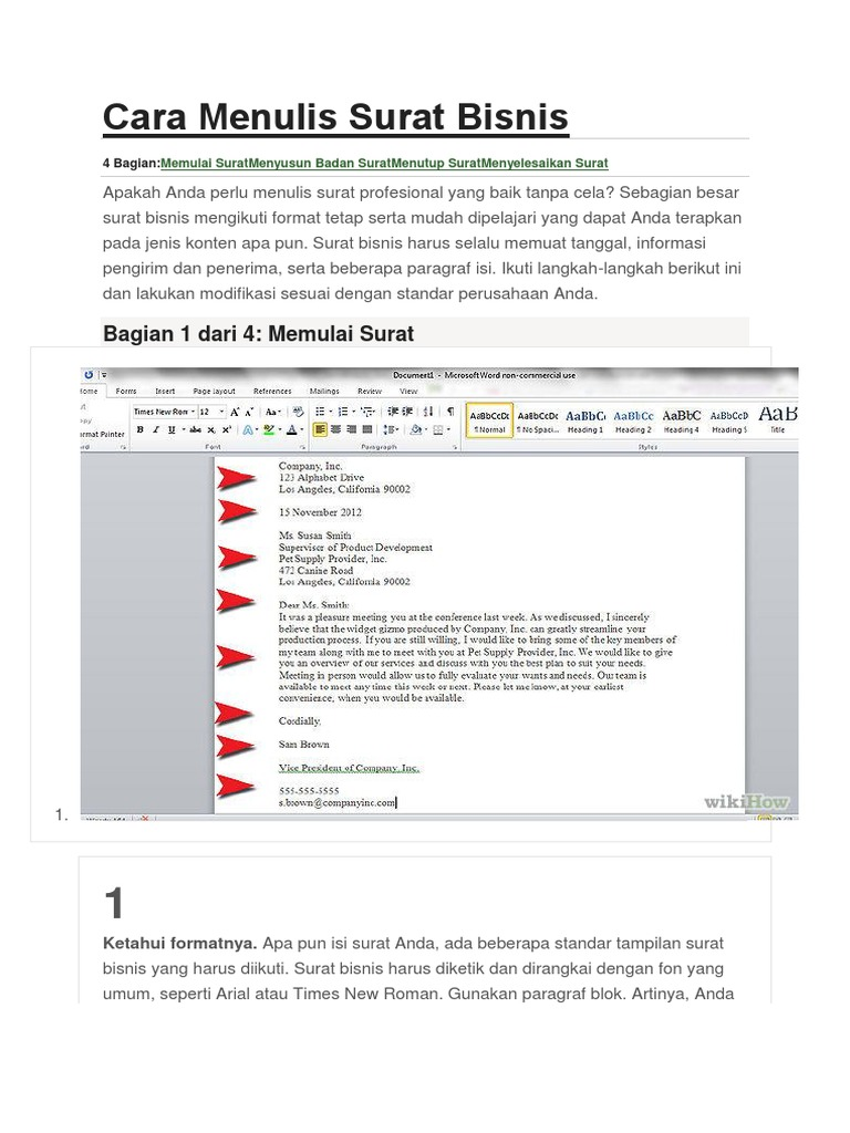 Cara Menulis Surat Bisnis