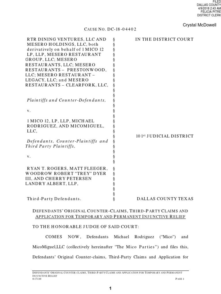Crystal Mcdowell: Plaintiffs And Counter-Defendants,