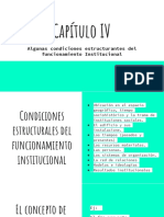 Algunas condiciones estructurantes del funcionamiento Institucional
