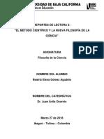 Lectura No 2 El Método Científico y La Nueva Filosofía de La Ciencia