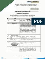 términos de referencia plan de gestión ambiental