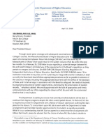 Letter to President Brown From The Massachusetts Department Of Higher Education