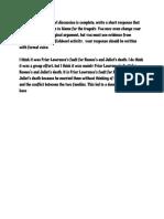 brendan johnson - romeo and juliet fishbowl response