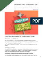 Upliftr.de - Das Geheimnis eine Testing-Kultur zu entwickeln | Der CRO-Prozess