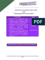 Cronograma de Actividades Para El Año 2018-2017