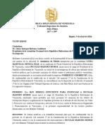 Carta del Tribunal Supremo en el exilio al Dr  Omar Enrique Barboza Gutiérrez, presidente de la Asamblea Nacional