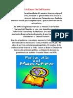 15 de Enero Día Del Maestro