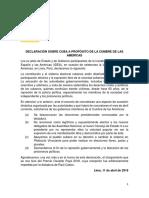 DECLARACIÓN SOBRE CUBA A PROPÓSITO DE LA CUMBRE DE LAS AMÉRICAS