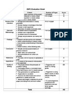 ESP 2 Evaluation Sheet