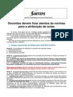 Informativo Sinteps - Atencao as Normas Para a Atribuicao de Aulas 2018