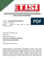 Surat Pengaduan Dugaan KKN Dana Pertanian Kabupaten Banyuasin Sumsel