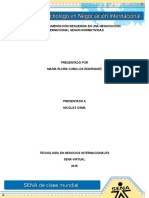 Informe Documentacion Requerida en Una Negociación Internacional Segun Normatividad