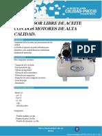 Compresor Libre de Aceite Con Dos Motores de Alta Calidad