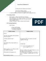 Lesson Plan in Mathematics I