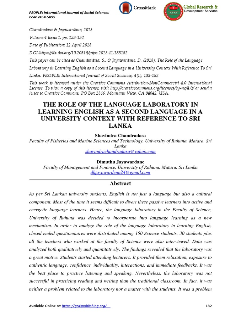 The Role of the Language Laboratory in Learning English as a