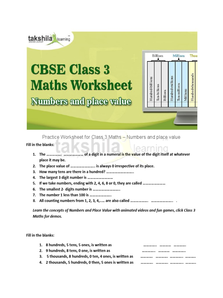 CBSE Class 3 Maths Worksheet- Numbers and Place Value | Subtraction ...