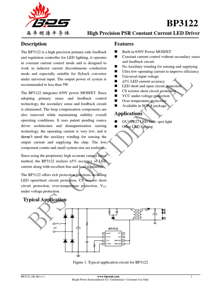 Bp3122 Ledpdf Mosfet Capacitor Leds In Parallel Resistor Circuit
