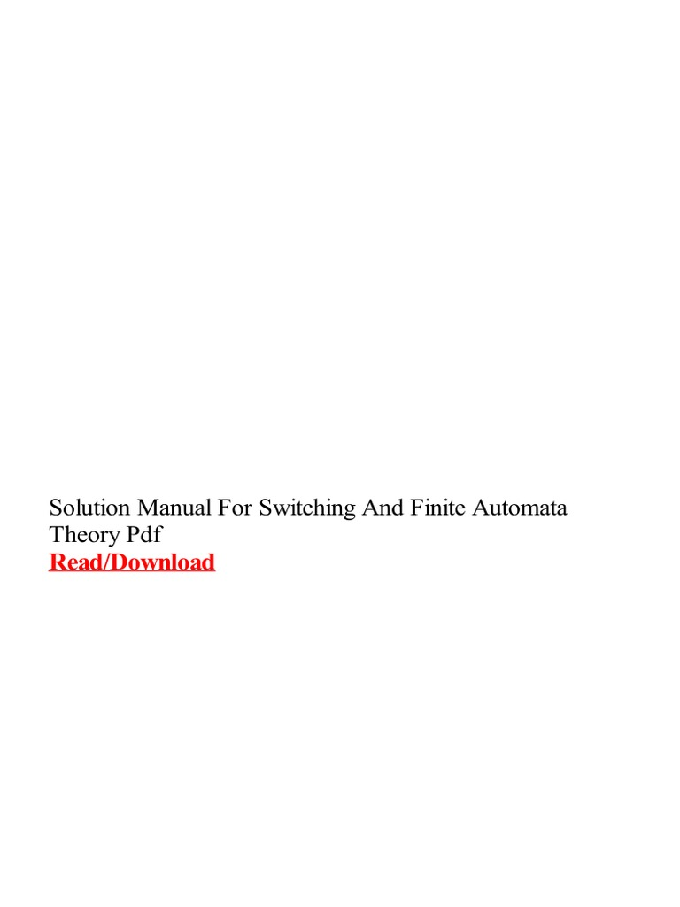 Solution Manual for Switching and Finite Automata Theory PDF   Automata  Theory   Finite Element Method