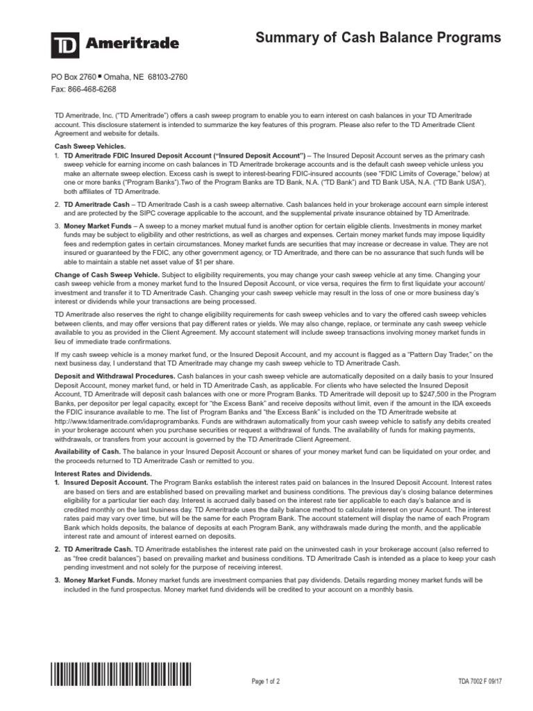 Tda 7002 | Money Market Fund | Federal Deposit Insurance Corporation