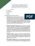 Ley Para Prevenir y Reprimir El Financiamiento Del Terrorismo Tarea 3