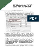 Aplicacion Del Saldo a Favor Del Impuesto a La Renta 2014