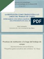 LA RESTITUCIÓN COMO TRADUCCIÓN A LO LARGO DEL TRABAJO DE CAMPO