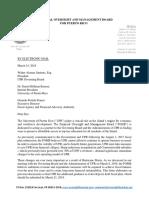 FOMB - Carta a La UPR - Expectativas Plan Fiscal - 15 Mar 2018