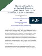 Psycho-Educational Insights for Managing Habitually Disruptive Students