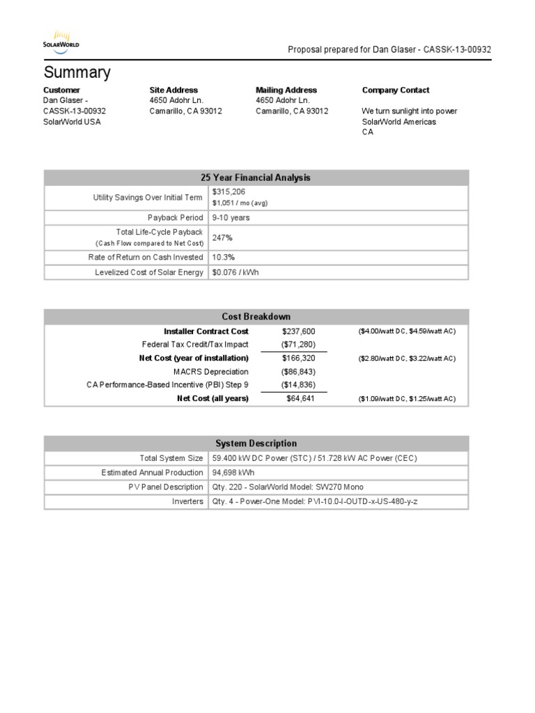 Commercial Solar System Proposal Example Pdf Internal Rate Of