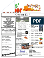 10. October 2017 Kids' Corner Newsletter