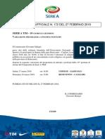 172 - Variazione Programma Anticipi e Posticipi 10 Giornata Di Ritorno Serie a Tim