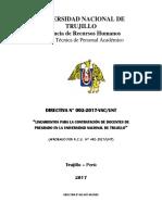 UNT Directiva N° 002-2017-VAC.UNT
