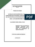 Sistema de Gestión Empresarial Para La Transformación de Pequeñas a Medianas Empresas Del Sector Artículos de Decoración de Interiores
