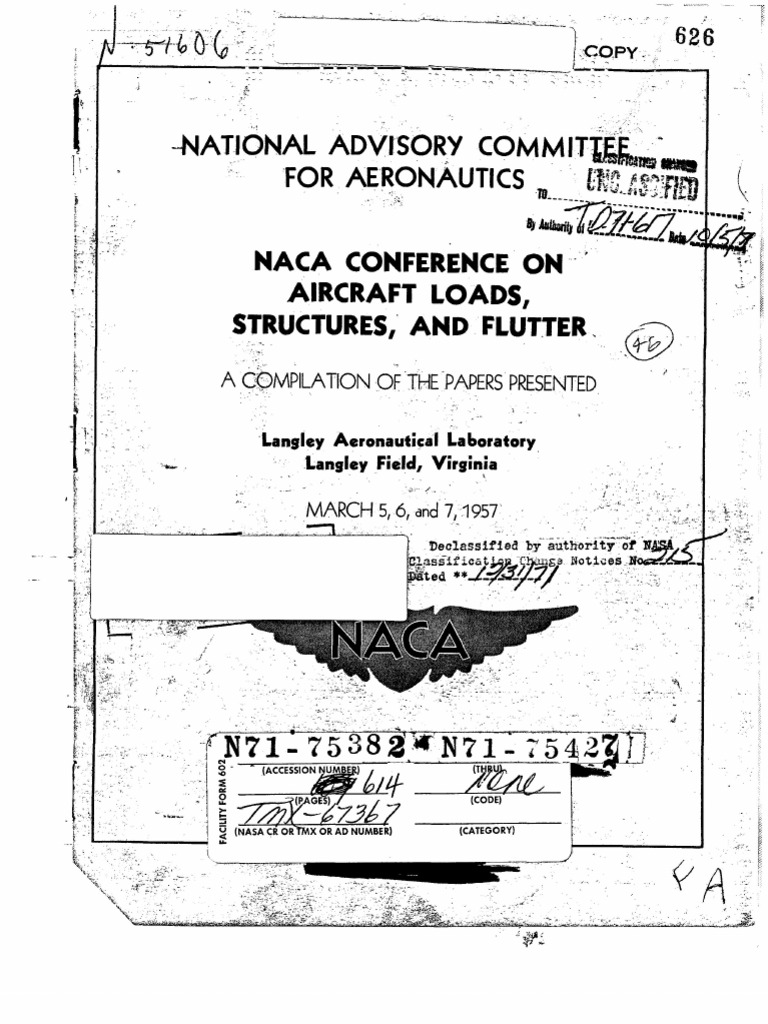 American Standard Tp 0002 B 609 Kitchen Sink Faucet Wm Cr Beli W M F062k042 Naca Conference On Aircraft Loads 1957 Hypersonic Speed National Advisory Committee For Aeronautics