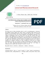 Antiinflammatory Activity Study of Antidote Aristolochia Indica to Thevenom of Heteropneustes Fossilis in Rats