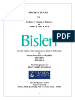 Analysis of Consumer Behaviour Bisleri in Delhi & NCR
