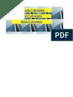 Copy of Concrete,Steel,Brick Calculator
