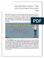 AMU Admit Card (Hall Ticket) – To be Released for B. Tech, B.Arch. By 21 April 2018