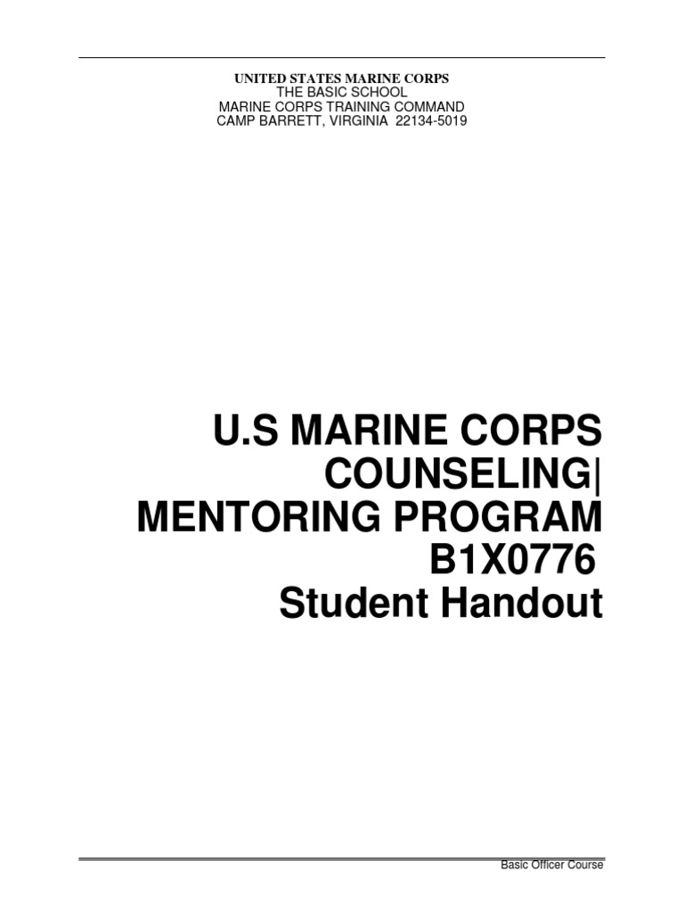 B1x0776 Usmc Counseling And Mentoring Program Mentorship Armed