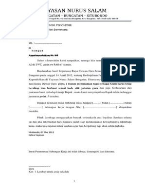 Contoh Surat Pemberhentian Guru Ilmusosial Id