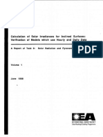 Calculation of Solar Irradiances for Inclined Surfaces- Verification of Models Which Use Hourly and Daily Data-June 1988