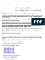 Automatic Control Systems - Electronics and Communication Engineering Questions and Answers - 1