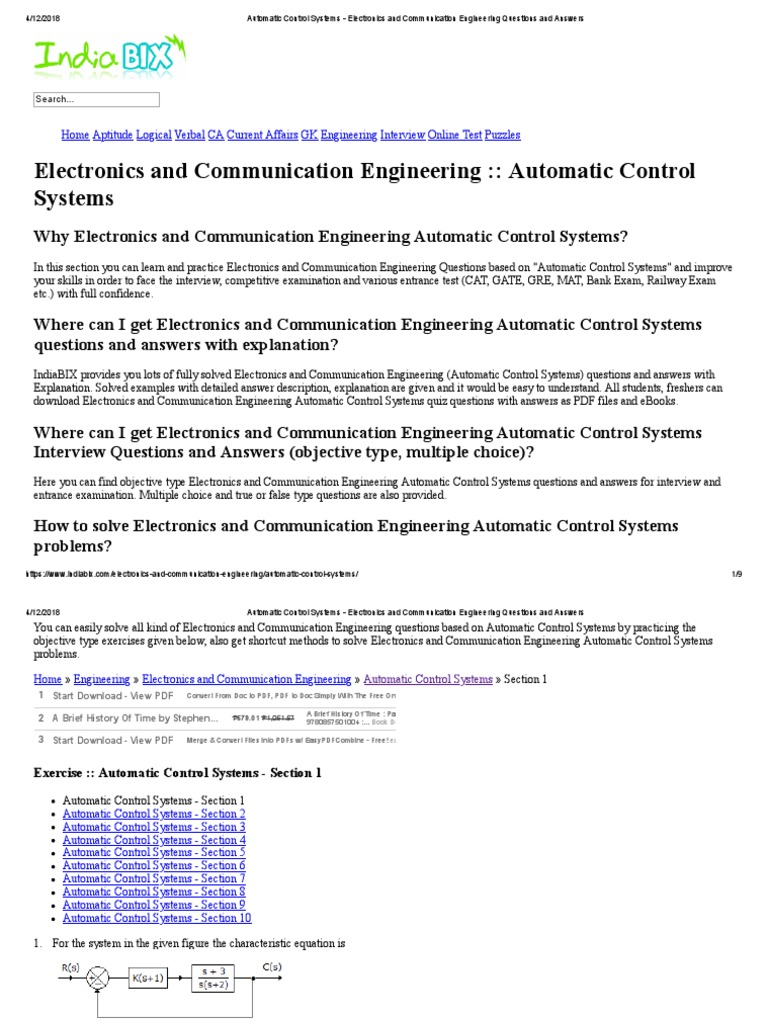 Automatic Control Systems - Electronics and Communication