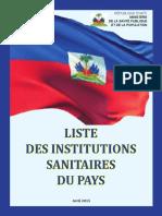Liste Des Institutions Sanitaires 2015