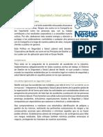 Política de Nestlé en Seguridad y Salud Laboral