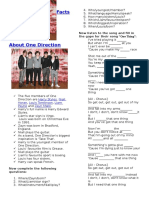 One Directions One Thing Song Cloze and Questions Fun Activities Games 26087