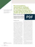 2017 - Recommandations Concernant Le Certificat à La Pratique Du Sport Dans Les Pays Ayant Un Mode de Vie Proche de Celui de La France R
